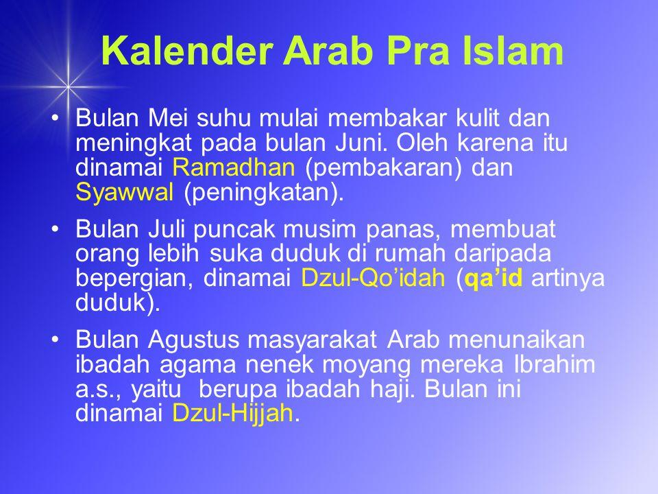 Kalender Arab Pra Islam Bulan Mei suhu mulai membakar kulit dan meningkat pada bulan Juni. Oleh karena itu dinamai Ramadhan (pembakaran) dan Syawwal (