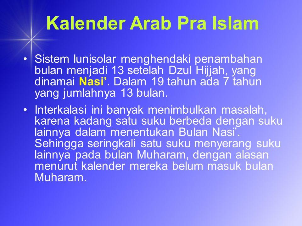Kalender Arab Pra Islam Sistem lunisolar menghendaki penambahan bulan menjadi 13 setelah Dzul Hijjah, yang dinamai Nasi. Dalam 19 tahun ada 7 tahun ya