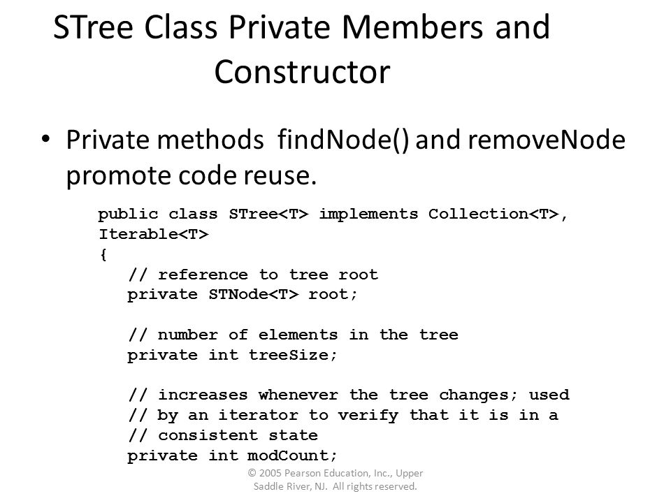 STree Class Private Members and Constructor Private methods findNode() and removeNode promote code reuse.