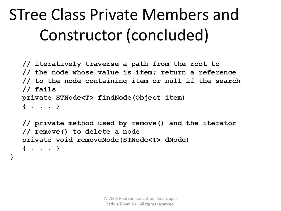 STree Class Private Members and Constructor (concluded) © 2005 Pearson Education, Inc., Upper Saddle River, NJ.