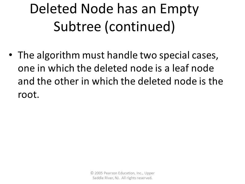 Deleted Node has an Empty Subtree (continued) The algorithm must handle two special cases, one in which the deleted node is a leaf node and the other in which the deleted node is the root.
