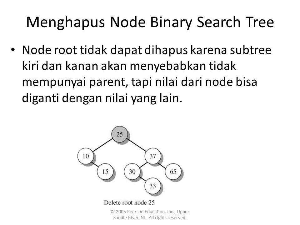 Menghapus Node Binary Search Tree Node root tidak dapat dihapus karena subtree kiri dan kanan akan menyebabkan tidak mempunyai parent, tapi nilai dari node bisa diganti dengan nilai yang lain.