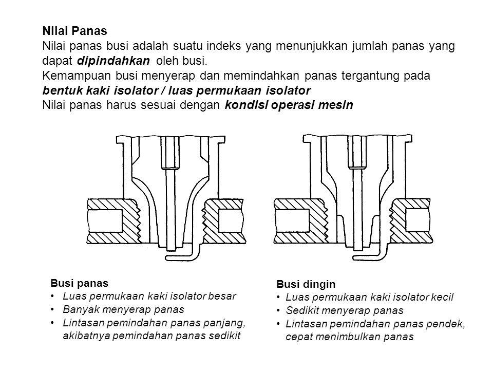Nilai Panas Nilai panas busi adalah suatu indeks yang menunjukkan jumlah panas yang dapat dipindahkan oleh busi. Kemampuan busi menyerap dan memindahk
