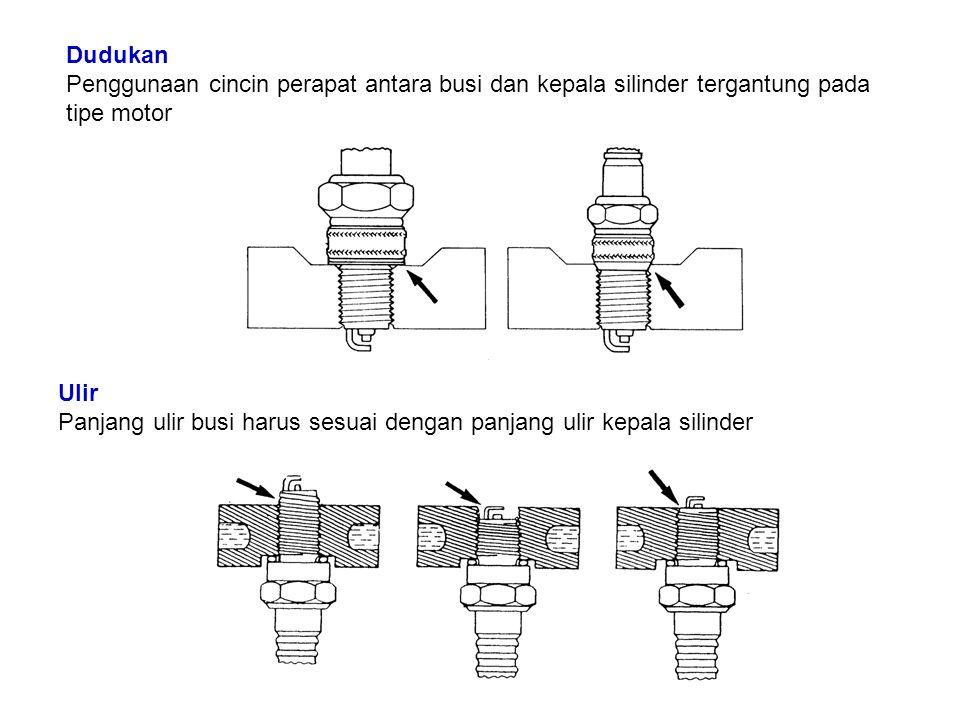 Dudukan Penggunaan cincin perapat antara busi dan kepala silinder tergantung pada tipe motor Ulir Panjang ulir busi harus sesuai dengan panjang ulir kepala silinder
