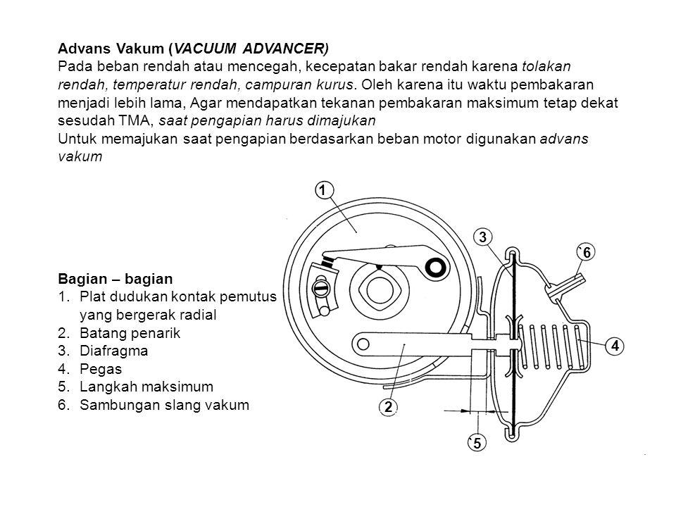 Advans Vakum (VACUUM ADVANCER) Pada beban rendah atau mencegah, kecepatan bakar rendah karena tolakan rendah, temperatur rendah, campuran kurus. Oleh