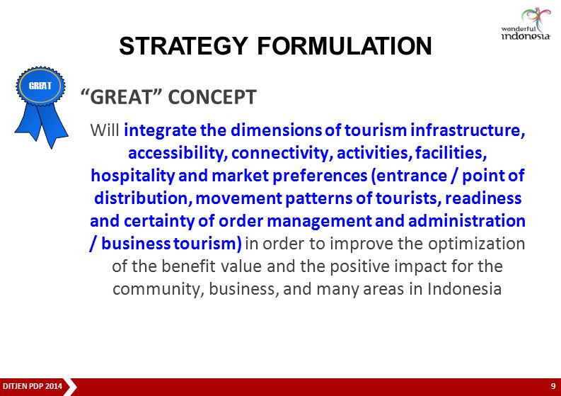 "DITJEN PDP 2014 ""GREAT"" CONCEPT Will integrate the dimensions of tourism infrastructure, accessibility, connectivity, activities, facilities, hospital"