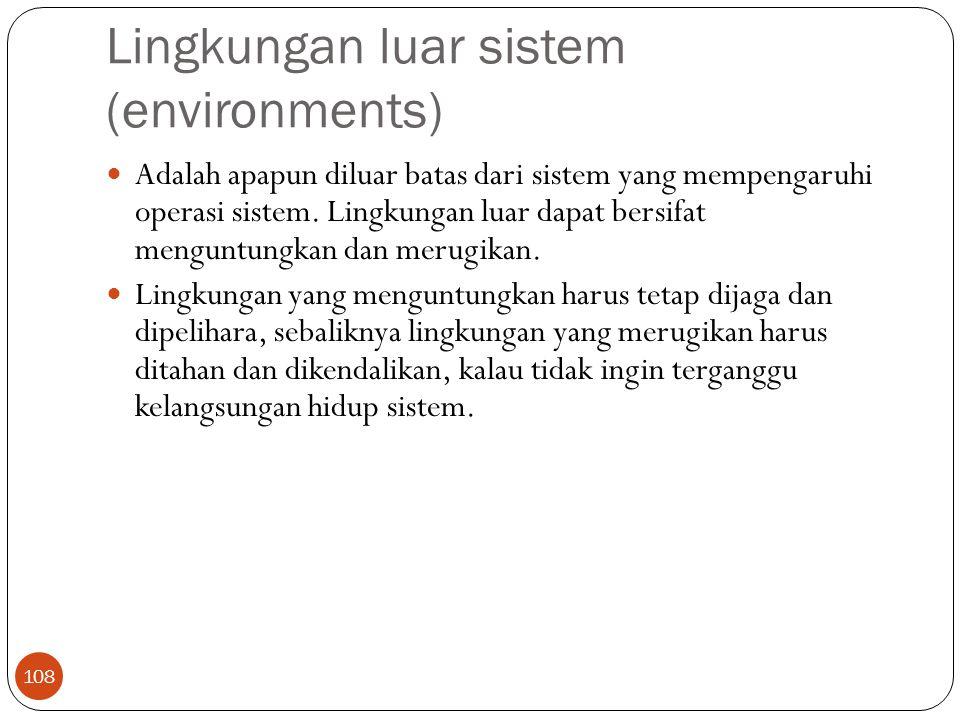 Lingkungan luar sistem (environments) 108 Adalah apapun diluar batas dari sistem yang mempengaruhi operasi sistem. Lingkungan luar dapat bersifat meng
