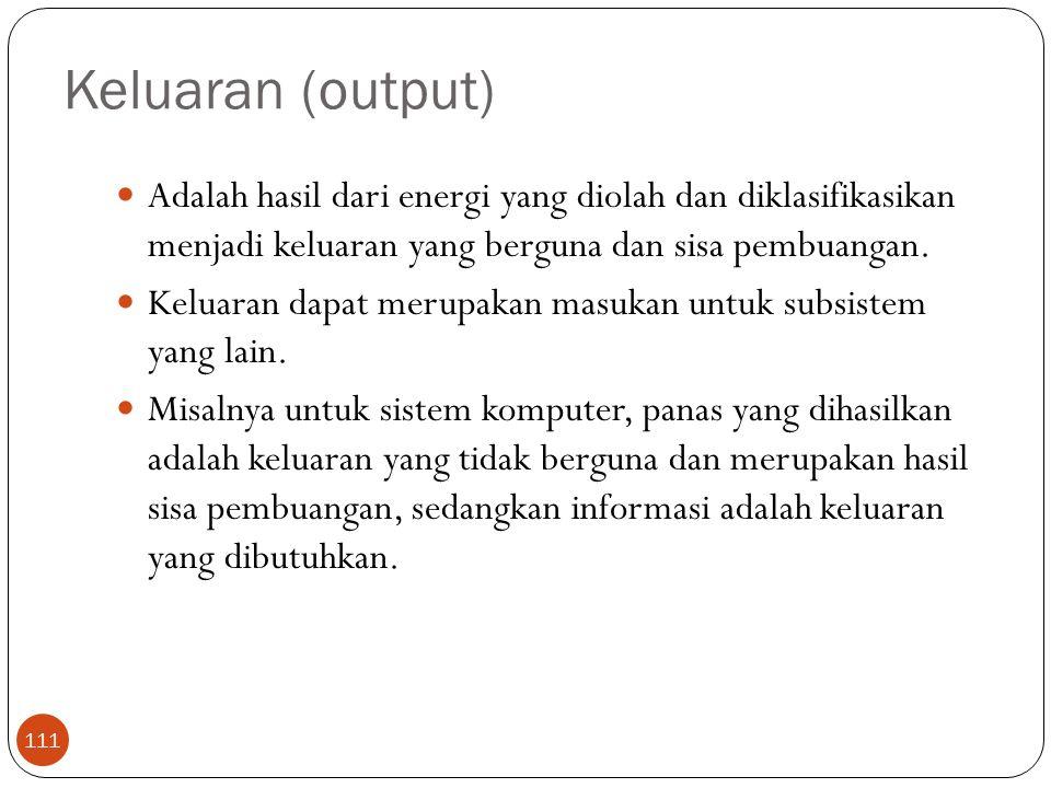 Keluaran (output) 111 Adalah hasil dari energi yang diolah dan diklasifikasikan menjadi keluaran yang berguna dan sisa pembuangan. Keluaran dapat meru