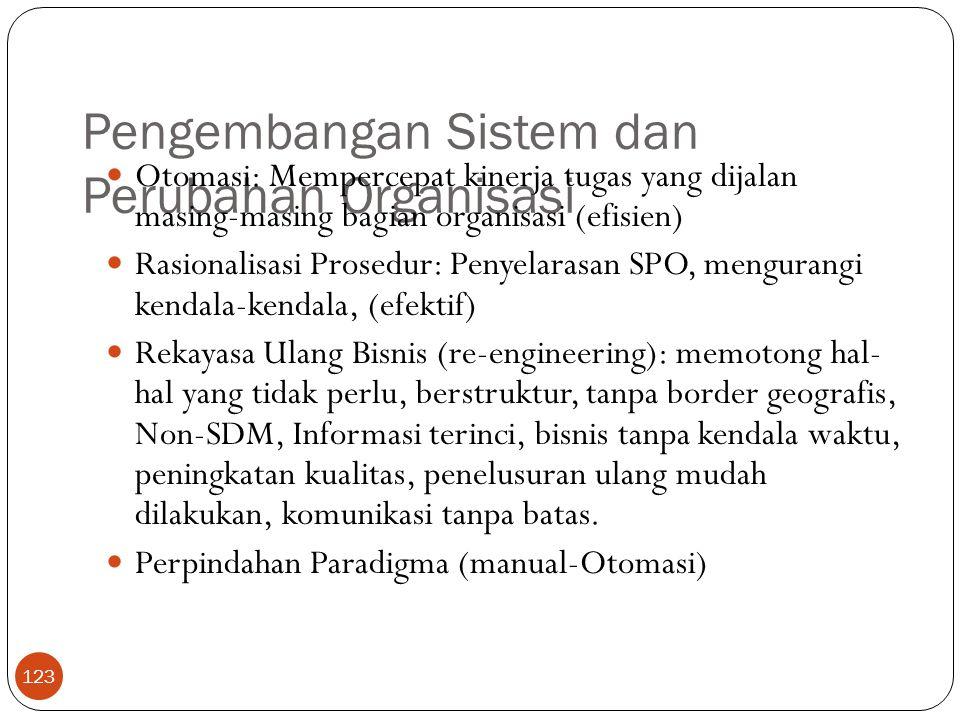 Pengembangan Sistem dan Perubahan Organisasi 123 Otomasi: Mempercepat kinerja tugas yang dijalan masing-masing bagian organisasi (efisien) Rasionalisa