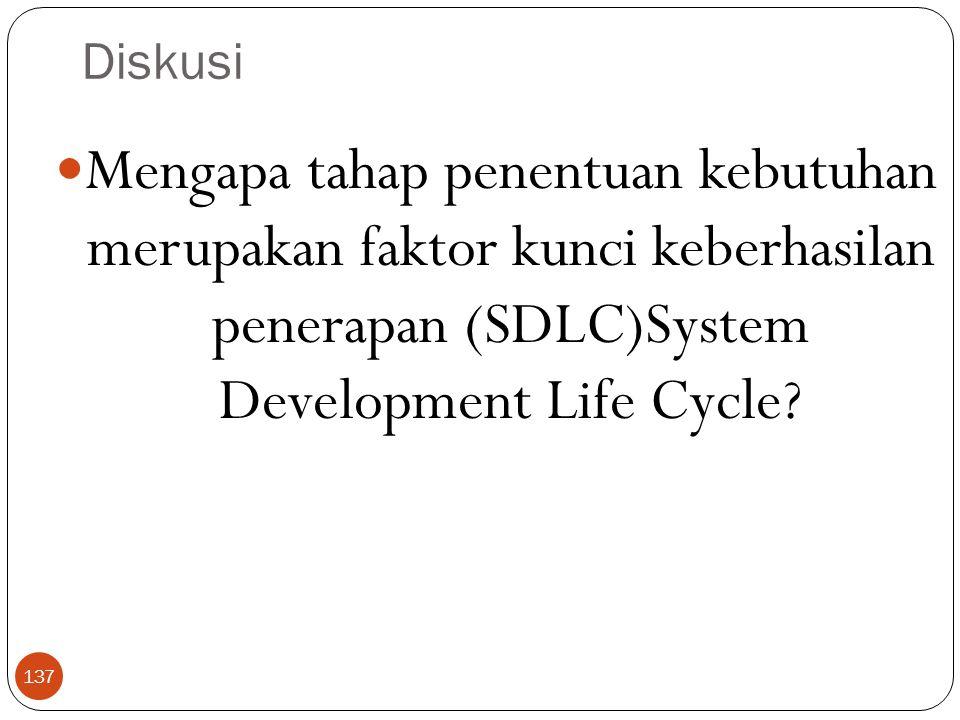 Diskusi 137 Mengapa tahap penentuan kebutuhan merupakan faktor kunci keberhasilan penerapan (SDLC)System Development Life Cycle?