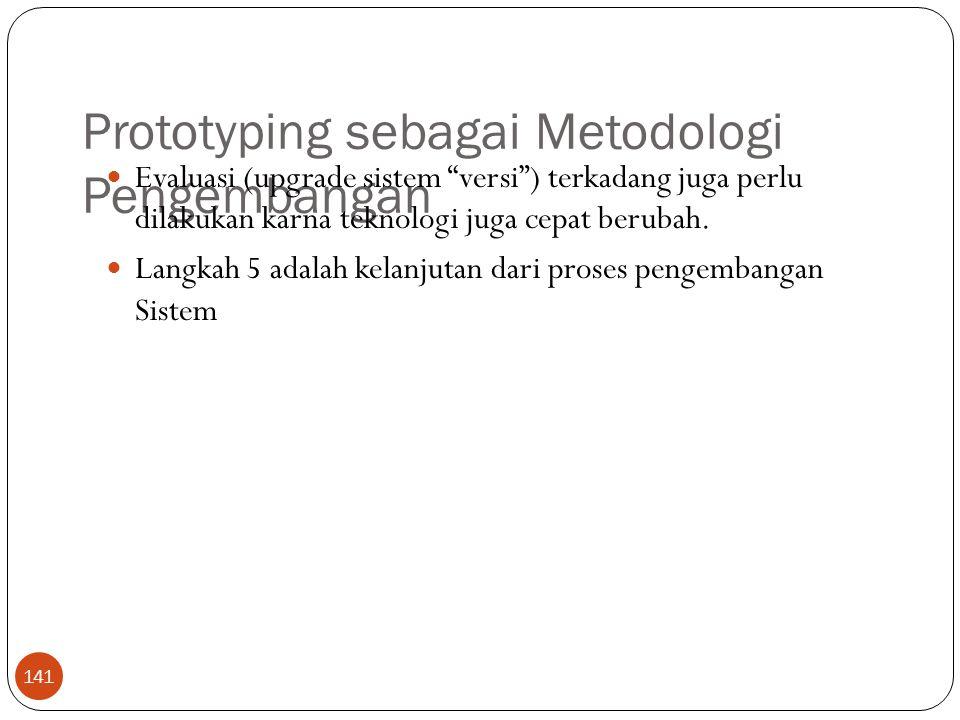 Prototyping sebagai Metodologi Pengembangan 141 Evaluasi (upgrade sistem versi ) terkadang juga perlu dilakukan karna teknologi juga cepat berubah.