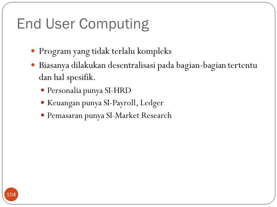 End User Computing 154 Program yang tidak terlalu kompleks Biasanya dilakukan desentralisasi pada bagian-bagian tertentu dan hal spesifik. Personalia