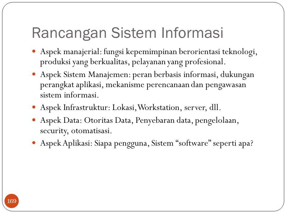 Rancangan Sistem Informasi 169 Aspek manajerial: fungsi kepemimpinan berorientasi teknologi, produksi yang berkualitas, pelayanan yang profesional.