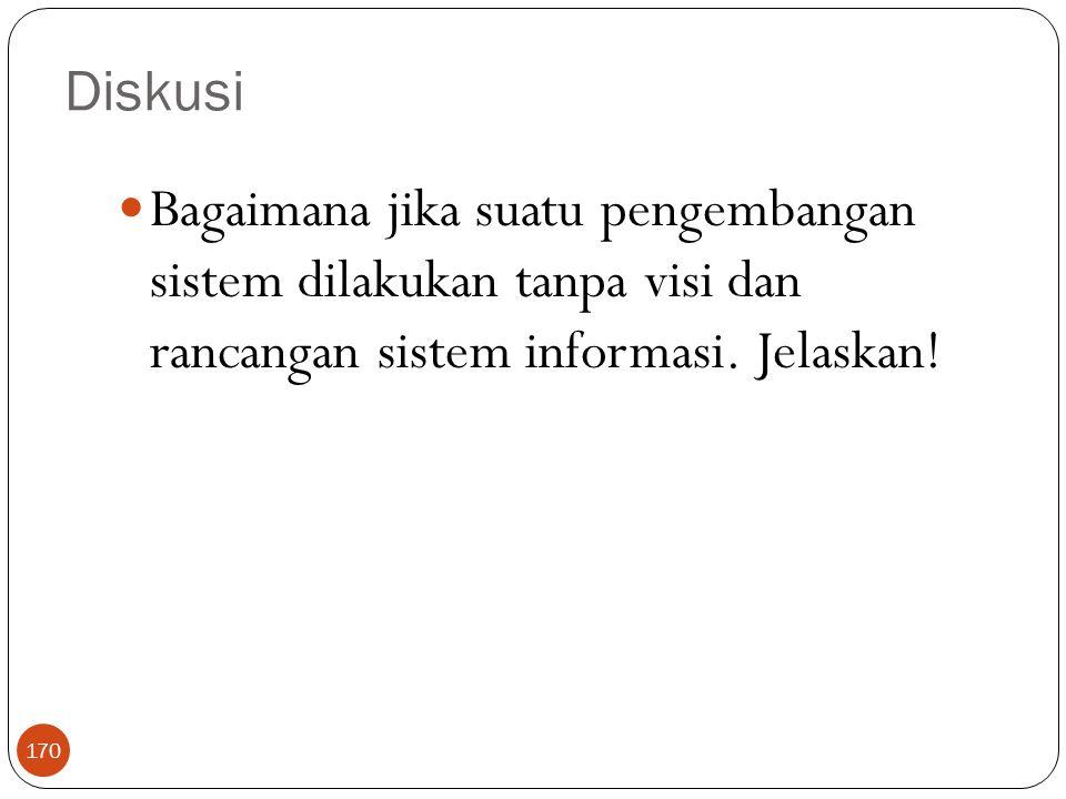 Diskusi 170 Bagaimana jika suatu pengembangan sistem dilakukan tanpa visi dan rancangan sistem informasi. Jelaskan!