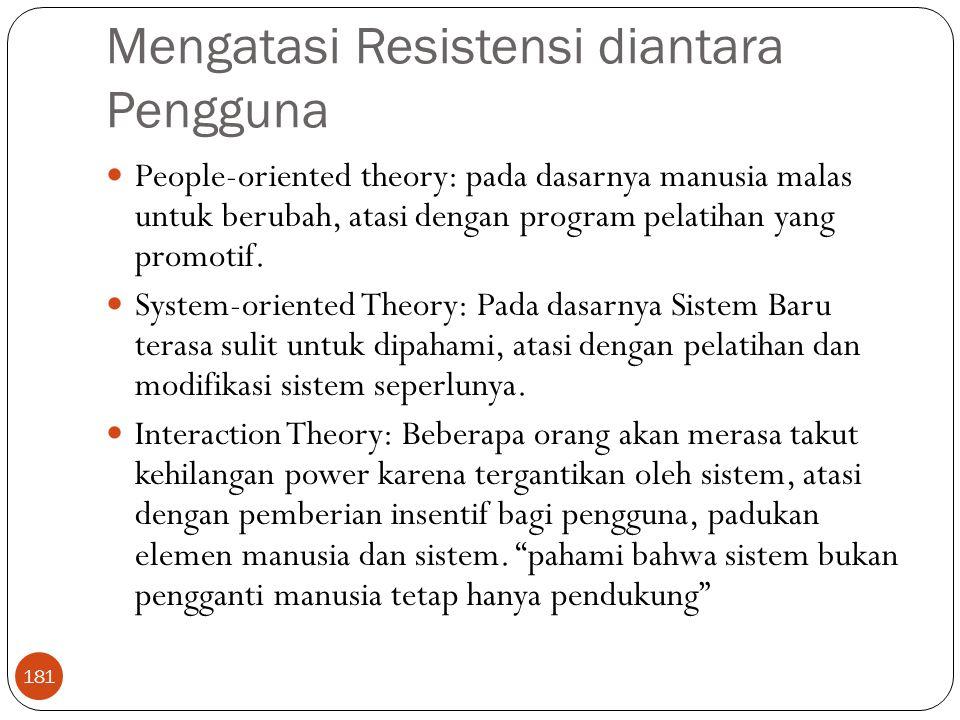 Mengatasi Resistensi diantara Pengguna 181 People-oriented theory: pada dasarnya manusia malas untuk berubah, atasi dengan program pelatihan yang prom