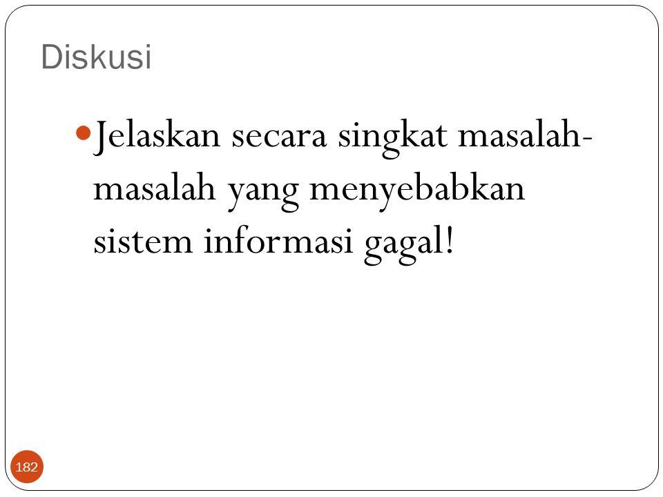 Diskusi 182 Jelaskan secara singkat masalah- masalah yang menyebabkan sistem informasi gagal!