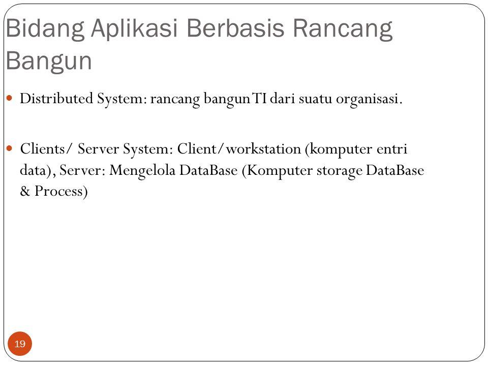 19 Bidang Aplikasi Berbasis Rancang Bangun Distributed System: rancang bangun TI dari suatu organisasi. Clients/ Server System: Client/workstation (ko