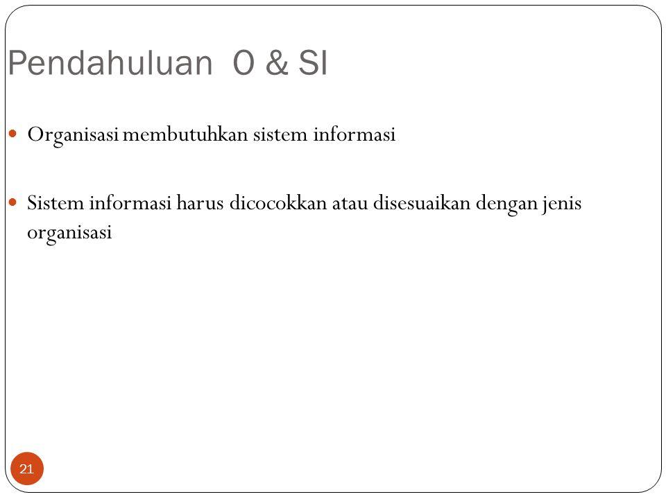 21 Pendahuluan O & SI Organisasi membutuhkan sistem informasi Sistem informasi harus dicocokkan atau disesuaikan dengan jenis organisasi
