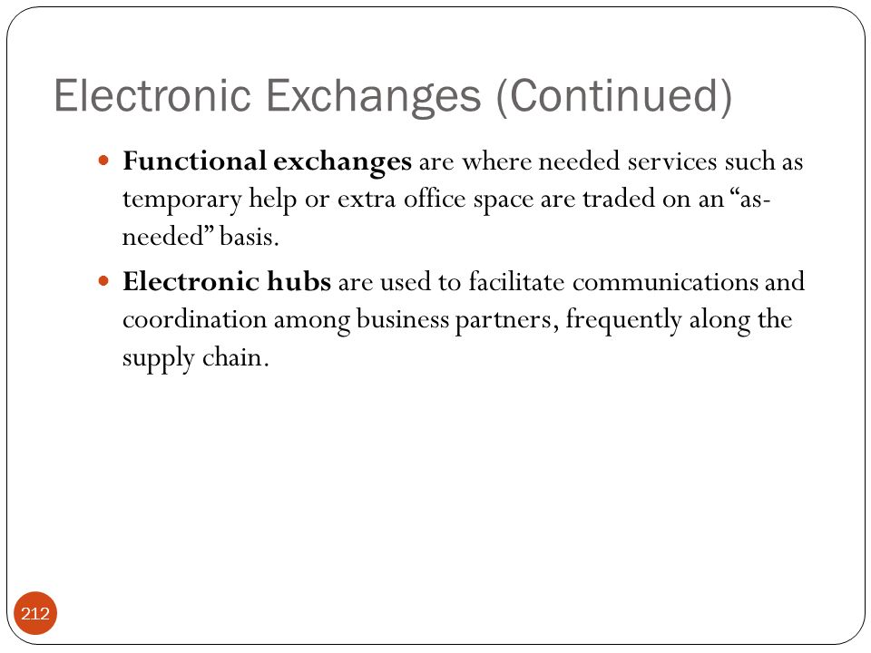 "Electronic Exchanges (Continued) 212 Functional exchanges are where needed services such as temporary help or extra office space are traded on an ""as-"