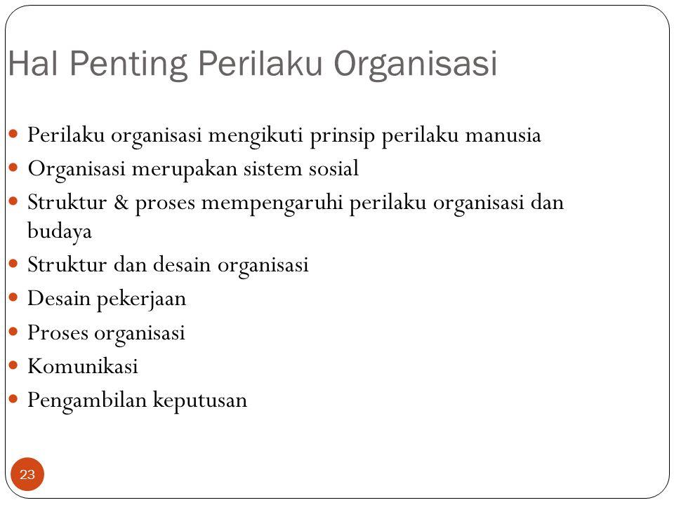 23 Hal Penting Perilaku Organisasi Perilaku organisasi mengikuti prinsip perilaku manusia Organisasi merupakan sistem sosial Struktur & proses mempeng
