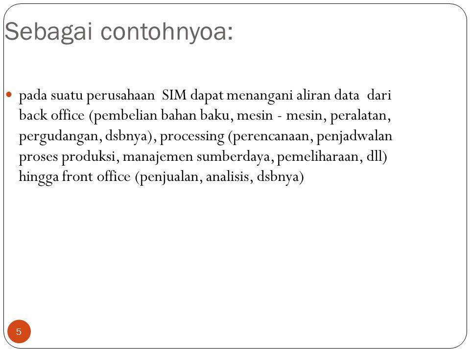 5 Sebagai contohnyoa: pada suatu perusahaan SIM dapat menangani aliran data dari back office (pembelian bahan baku, mesin - mesin, peralatan, pergudan