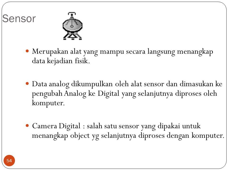 54 Sensor Merupakan alat yang mampu secara langsung menangkap data kejadian fisik. Data analog dikumpulkan oleh alat sensor dan dimasukan ke pengubah