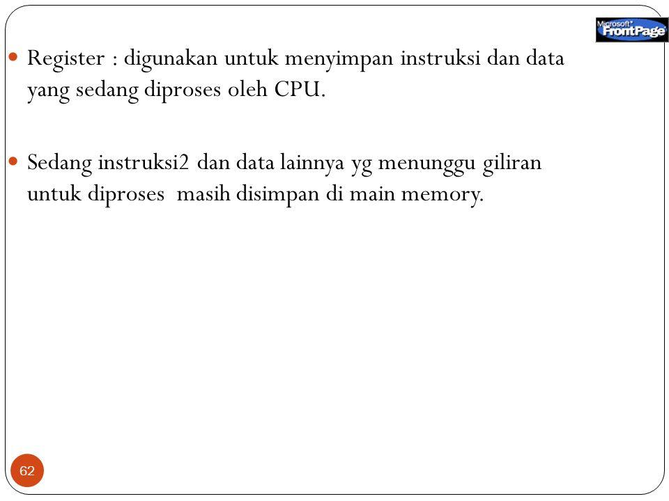 62 Register : digunakan untuk menyimpan instruksi dan data yang sedang diproses oleh CPU. Sedang instruksi2 dan data lainnya yg menunggu giliran untuk