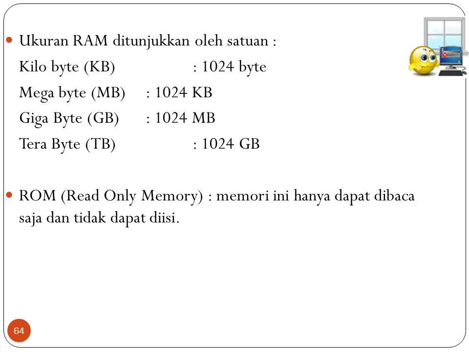 64 Ukuran RAM ditunjukkan oleh satuan : Kilo byte (KB): 1024 byte Mega byte (MB): 1024 KB Giga Byte (GB): 1024 MB Tera Byte (TB): 1024 GB ROM (Read Only Memory) : memori ini hanya dapat dibaca saja dan tidak dapat diisi.