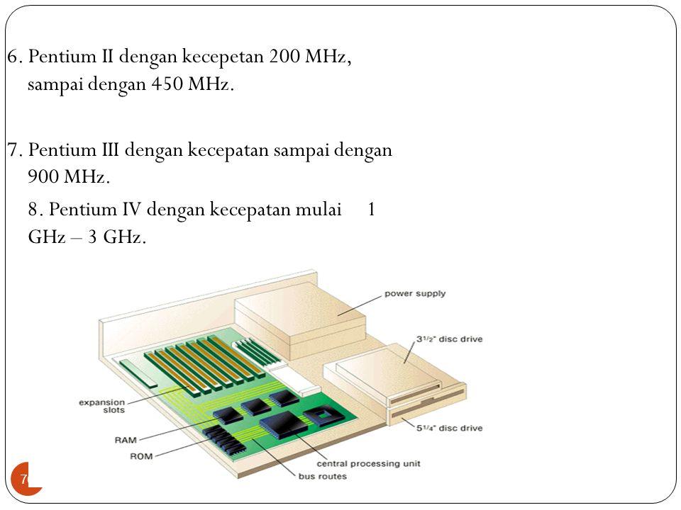 76 6. Pentium II dengan kecepetan 200 MHz, sampai dengan 450 MHz. 7. Pentium III dengan kecepatan sampai dengan 900 MHz. 8. Pentium IV dengan kecepata