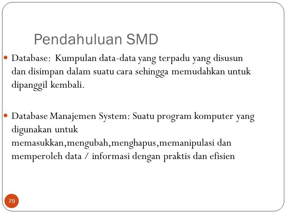 79 Pendahuluan SMD Database: Kumpulan data-data yang terpadu yang disusun dan disimpan dalam suatu cara sehingga memudahkan untuk dipanggil kembali. D