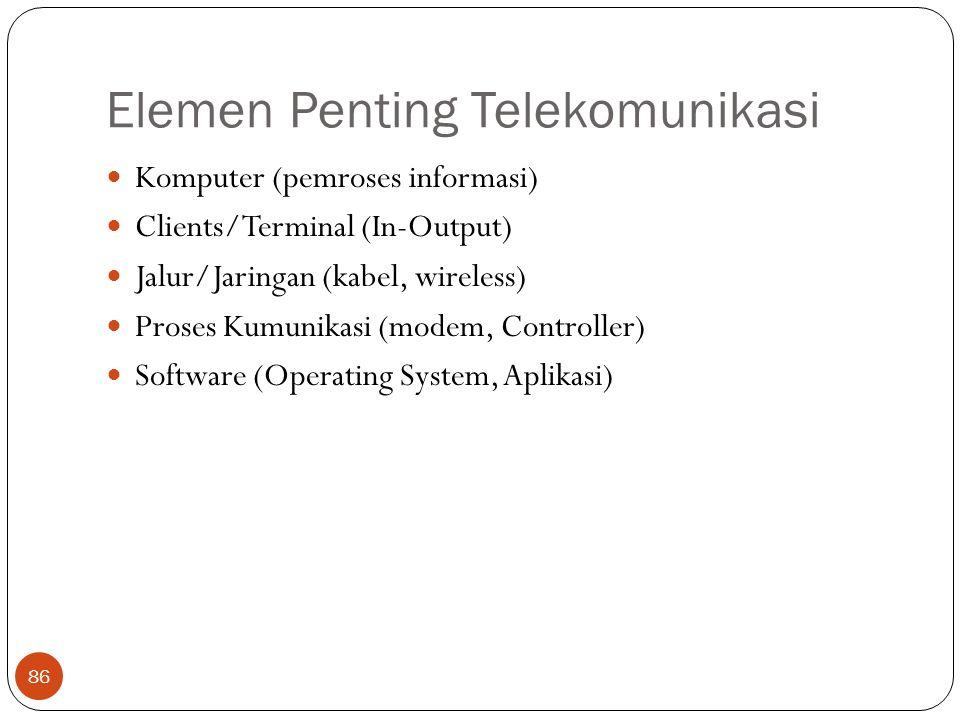 Elemen Penting Telekomunikasi 86 Komputer (pemroses informasi) Clients/Terminal (In-Output) Jalur/Jaringan (kabel, wireless) Proses Kumunikasi (modem, Controller) Software (Operating System, Aplikasi)