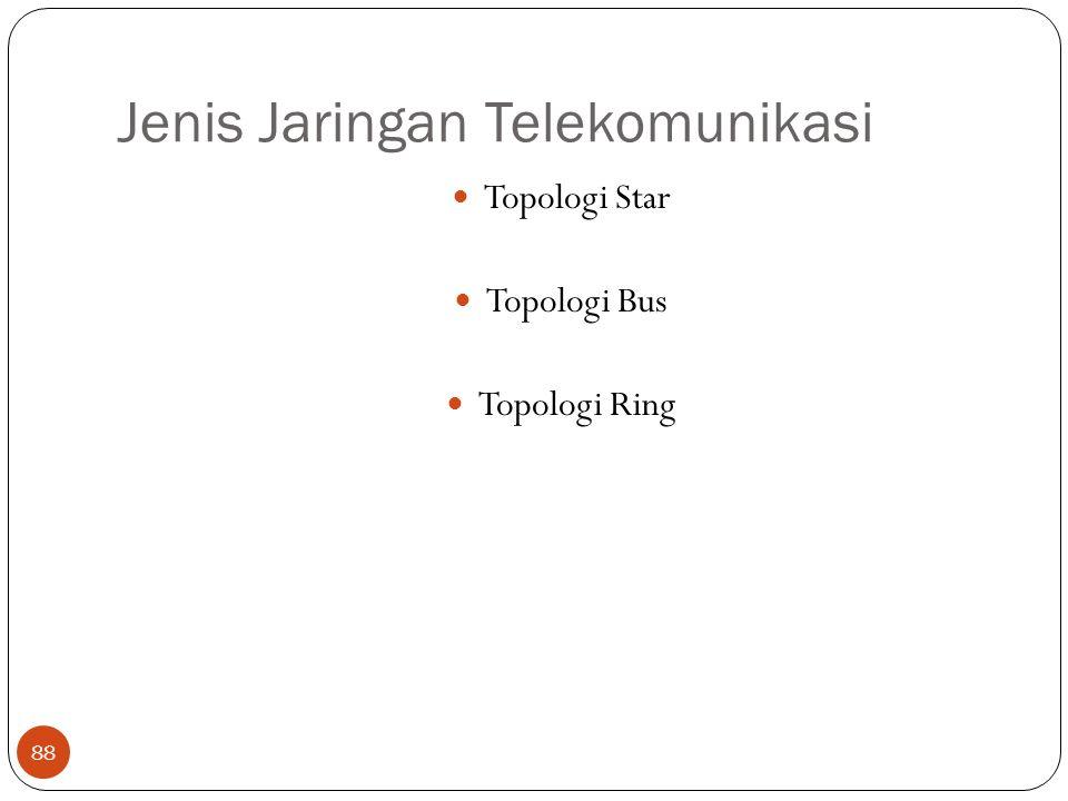 Jenis Jaringan Telekomunikasi 88 Topologi Star Topologi Bus Topologi Ring