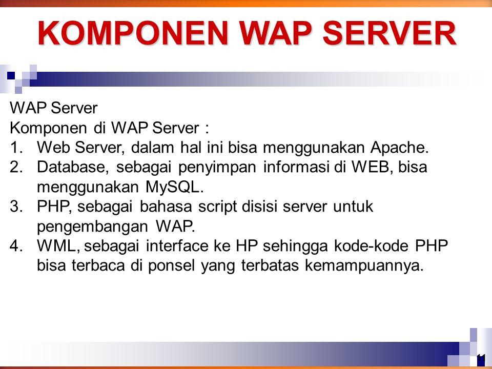 WAP Server Komponen di WAP Server : 1.Web Server, dalam hal ini bisa menggunakan Apache. 2.Database, sebagai penyimpan informasi di WEB, bisa mengguna