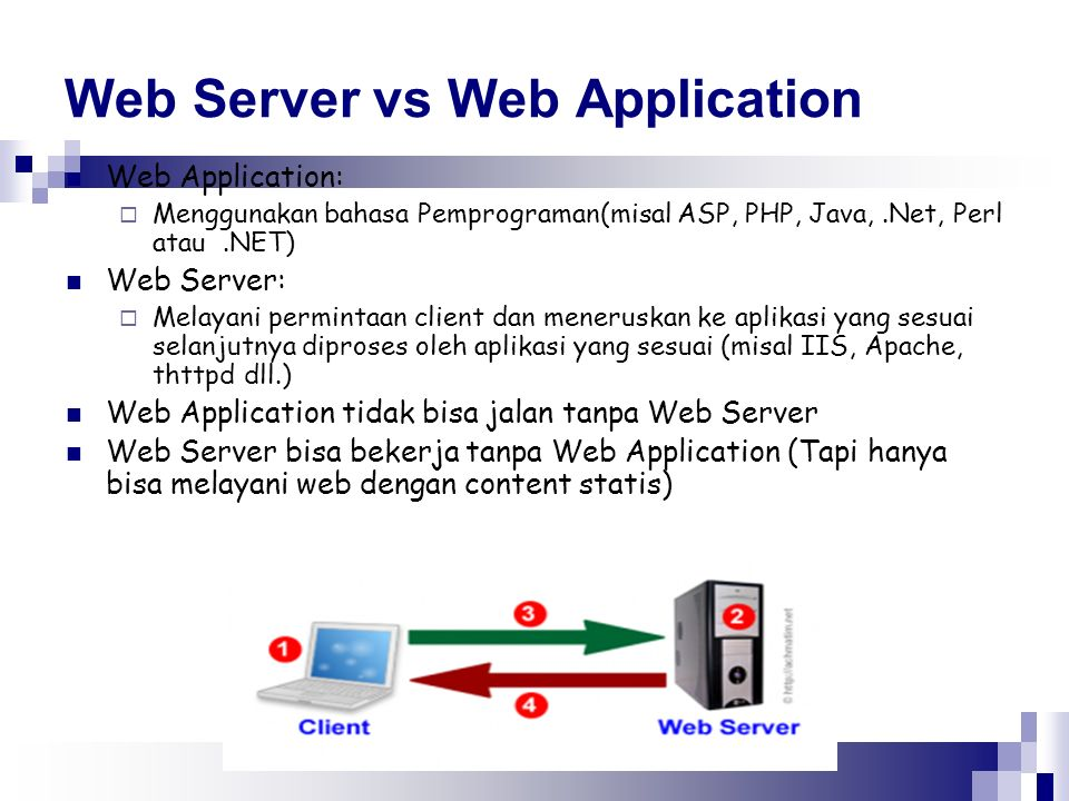 Web Server vs Web Application Web Application:  Menggunakan bahasa Pemprograman(misal ASP, PHP, Java,.Net, Perl atau.NET) Web Server:  Melayani perm