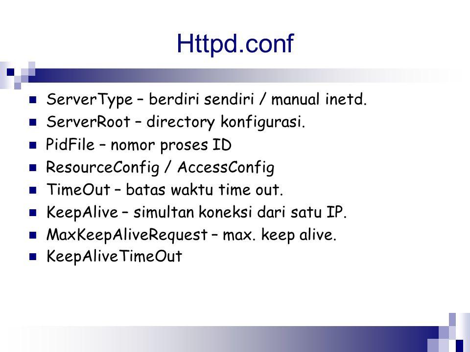 Httpd.conf ServerType – berdiri sendiri / manual inetd. ServerRoot – directory konfigurasi. PidFile – nomor proses ID ResourceConfig / AccessConfig Ti