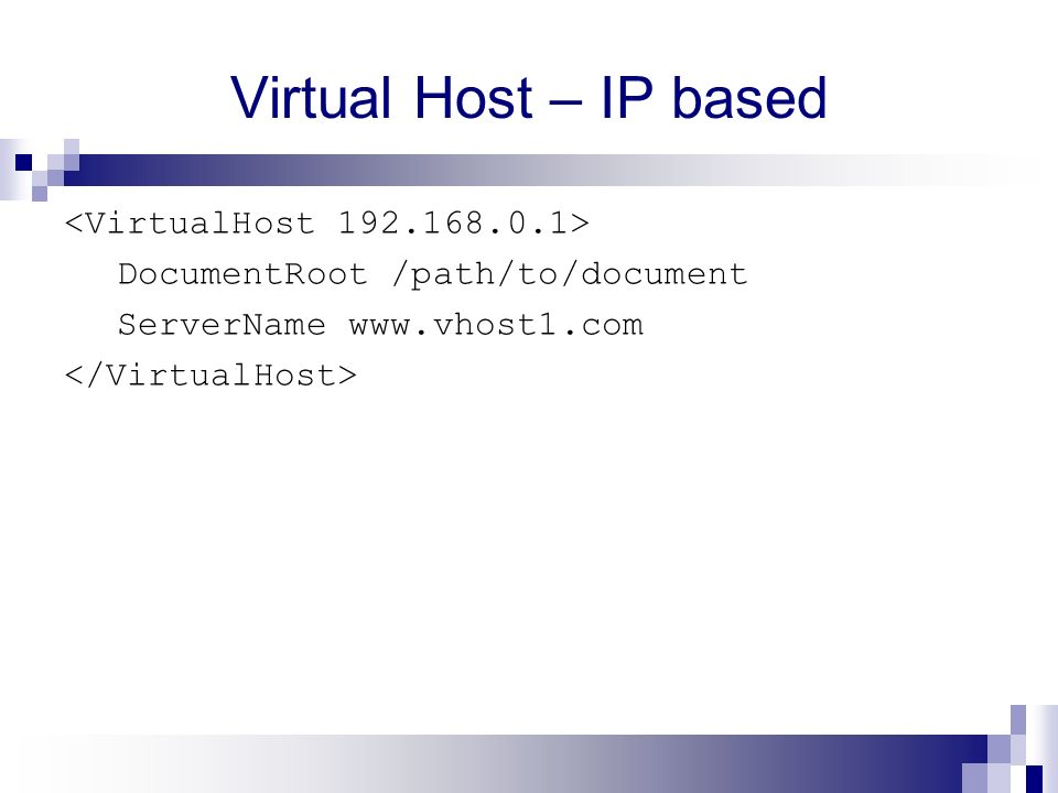 Virtual Host – IP based DocumentRoot /path/to/document ServerName www.vhost1.com