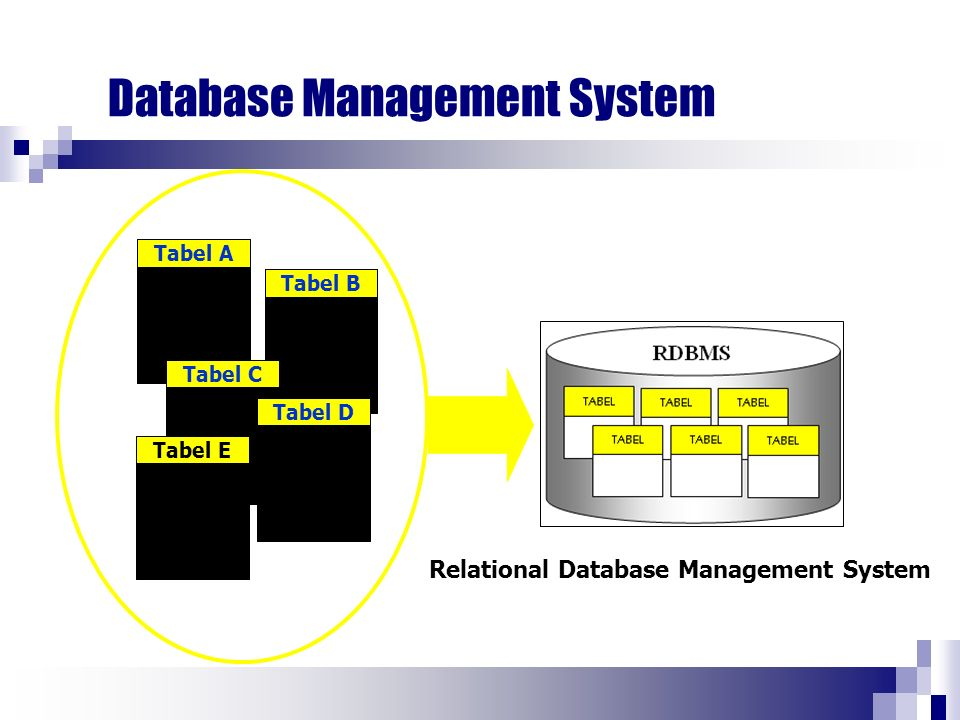 Database Management System Tabel ATabel BTabel CTabel DTabel E Relational Database Management System