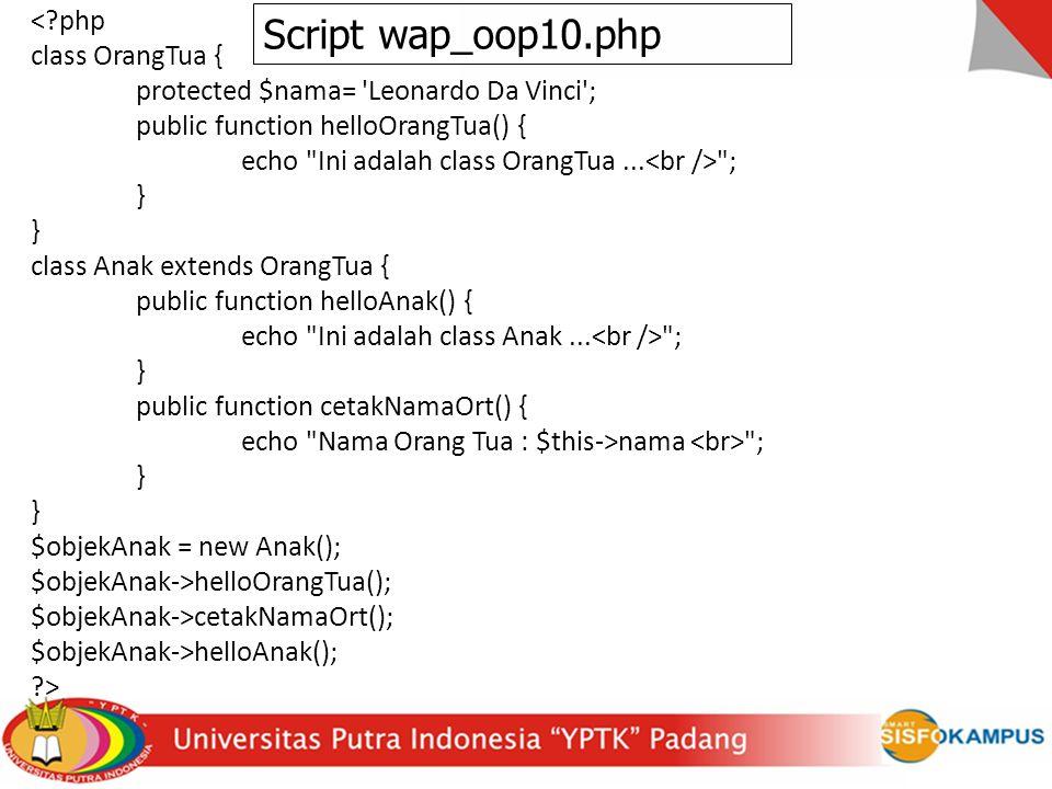 <?php class OrangTua { protected $nama= 'Leonardo Da Vinci'; public function helloOrangTua() { echo