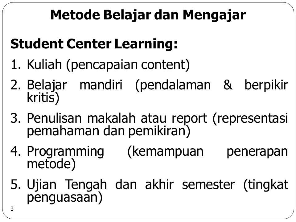 3 Metode Belajar dan Mengajar Student Center Learning: 1.Kuliah (pencapaian content) 2.Belajar mandiri (pendalaman & berpikir kritis) 3.Penulisan makalah atau report (representasi pemahaman dan pemikiran) 4.Programming (kemampuan penerapan metode) 5.Ujian Tengah dan akhir semester (tingkat penguasaan)