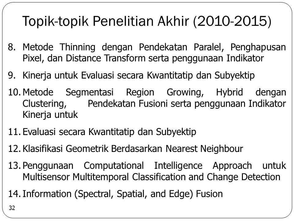 Topik-topik Penelitian Akhir (2010-2015) 32 8.Metode Thinning dengan Pendekatan Paralel, Penghapusan Pixel, dan Distance Transform serta penggunaan Indikator 9.Kinerja untuk Evaluasi secara Kwantitatip dan Subyektip 10.Metode Segmentasi Region Growing, Hybrid dengan Clustering, Pendekatan Fusioni serta penggunaan Indikator Kinerja untuk 11.Evaluasi secara Kwantitatip dan Subyektip 12.Klasifikasi Geometrik Berdasarkan Nearest Neighbour 13.Penggunaan Computational Intelligence Approach untuk Multisensor Multitemporal Classification and Change Detection 14.Information (Spectral, Spatial, and Edge) Fusion