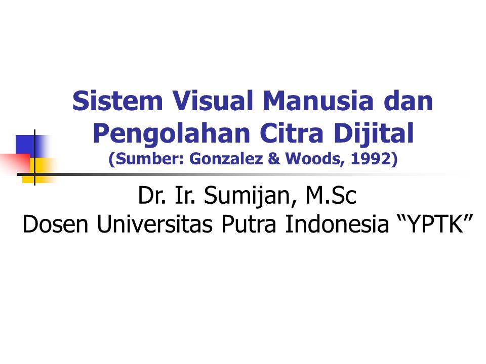 2 Sistem Visual Manusia Pembentukan Citra oleh Sensor Mata Intensitas cahaya ditangkap oleh diagram iris dan diteruskan ke bagian retina mata.