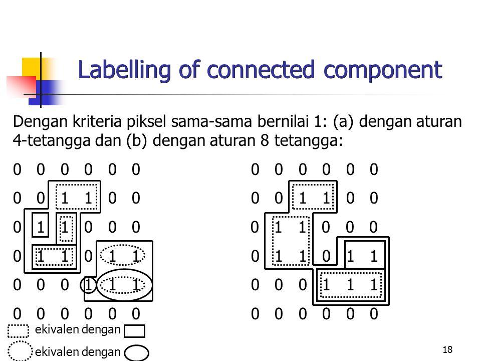 18 Labelling of connected component Dengan kriteria piksel sama-sama bernilai 1: (a) dengan aturan 4-tetangga dan (b) dengan aturan 8 tetangga: 0 0 0