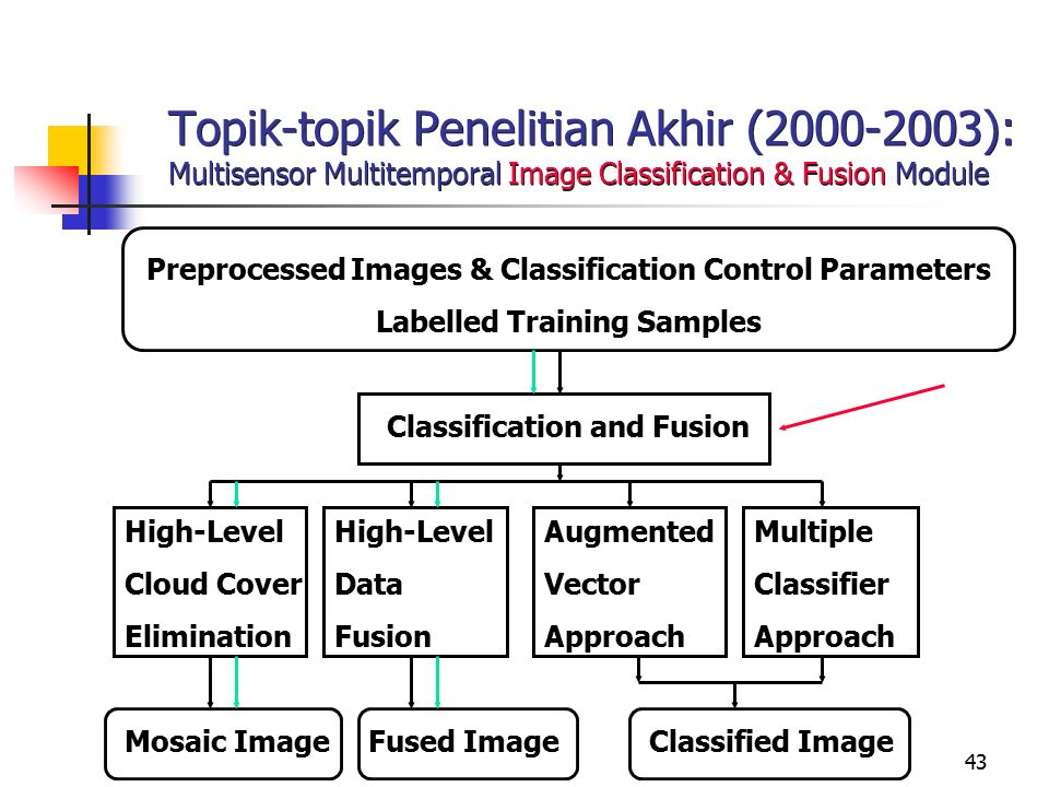 43 Topik-topik Penelitian Akhir (2000-2003): Multisensor Multitemporal Image Classification & Fusion Module Preprocessed Images & Classification Control Parameters Labelled Training Samples Classification and Fusion High-LevelHigh-LevelAugmentedMultiple Cloud CoverDataVectorClassifier EliminationFusionApproachApproach Mosaic Image Fused ImageClassified Image