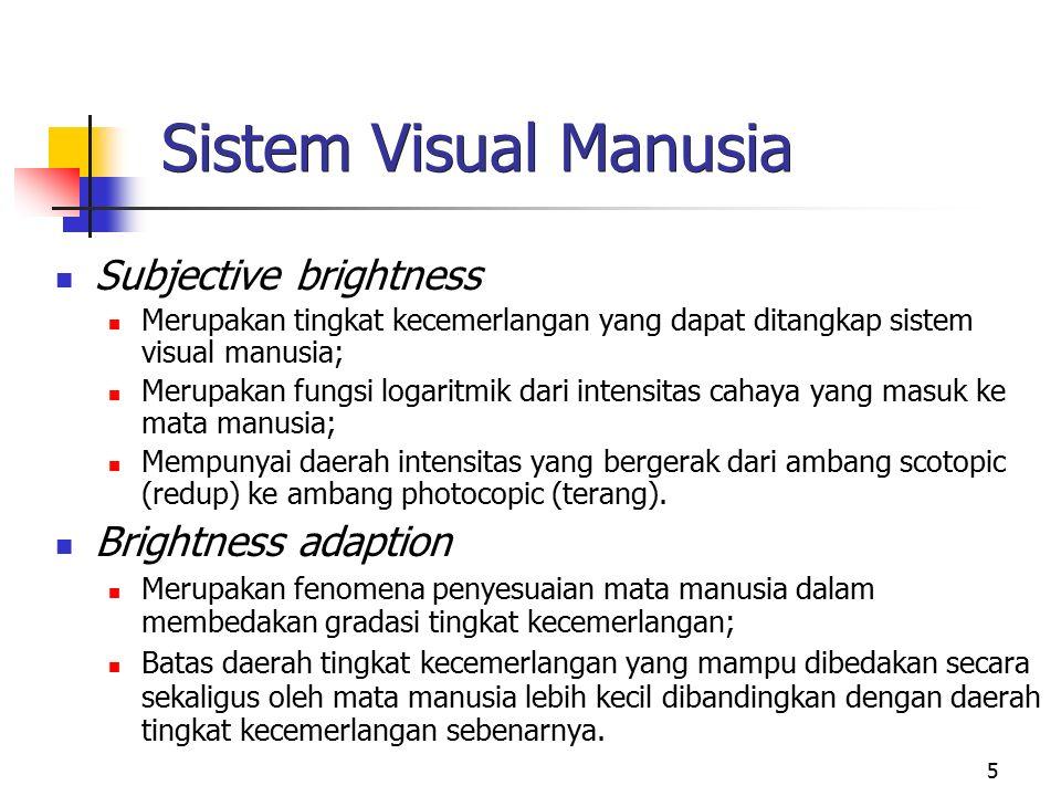 5 Sistem Visual Manusia Subjective brightness Merupakan tingkat kecemerlangan yang dapat ditangkap sistem visual manusia; Merupakan fungsi logaritmik