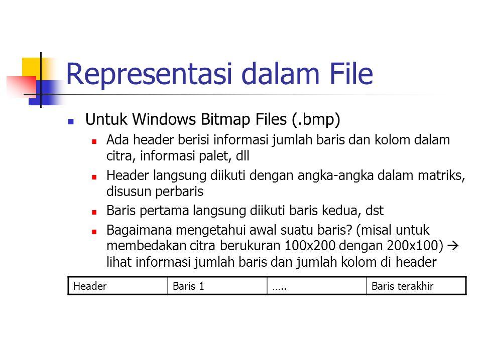 Representasi dalam File Untuk Windows Bitmap Files (.bmp) Ada header berisi informasi jumlah baris dan kolom dalam citra, informasi palet, dll Header