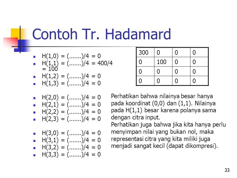 33 Contoh Tr. Hadamard H(1,0) = (.......)/4 = 0 H(1,1) = (.......)/4 = 400/4 = 100 H(1,2) = (.......)/4 = 0 H(1,3) = (.......)/4 = 0 H(2,0) = (.......