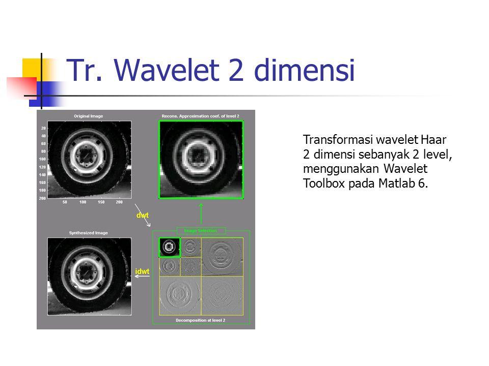 Tr. Wavelet 2 dimensi Transformasi wavelet Haar 2 dimensi sebanyak 2 level, menggunakan Wavelet Toolbox pada Matlab 6.