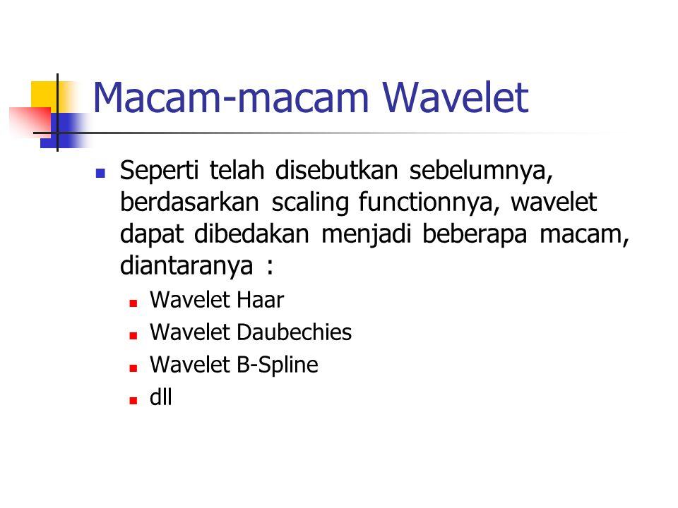 Macam-macam Wavelet Seperti telah disebutkan sebelumnya, berdasarkan scaling functionnya, wavelet dapat dibedakan menjadi beberapa macam, diantaranya : Wavelet Haar Wavelet Daubechies Wavelet B-Spline dll