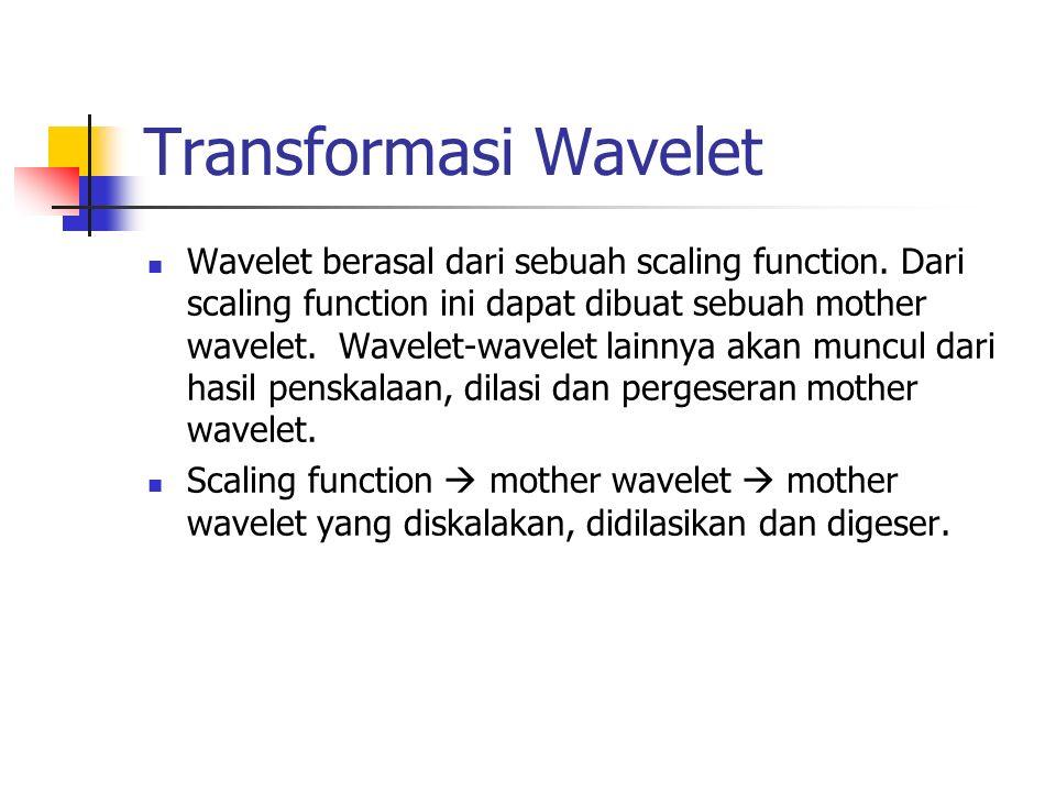 Transformasi Wavelet Wavelet berasal dari sebuah scaling function.