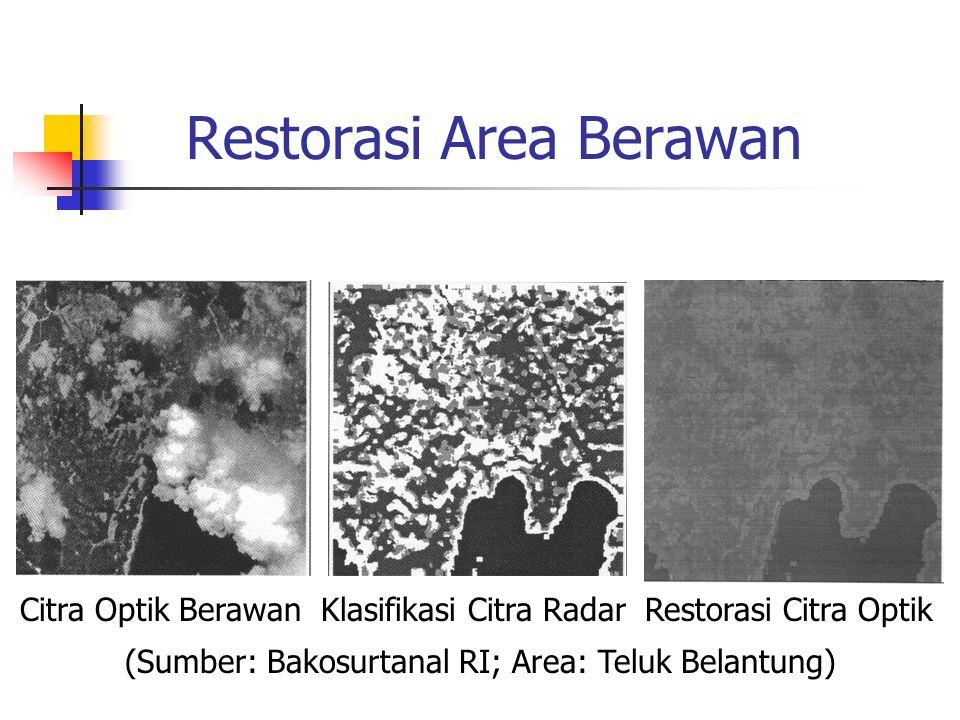 Restorasi Area Berawan Citra Optik Berawan Klasifikasi Citra Radar Restorasi Citra Optik (Sumber: Bakosurtanal RI; Area: Teluk Belantung)